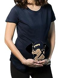 JYR Embarazo maternidad Echar un vistazo Beb¨¦ de Ninja Camisetas de humor de las mujeres calientes camisas de regalos que vende - Navy