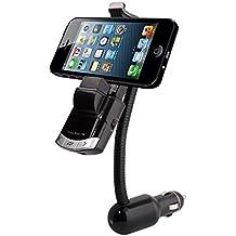 CrazyFire® Soporte para smartphone para el coche, manos libres, Bluetooth, reproductor de música, cargador para mechero, transmisor FM inalámbrico, cargador USB