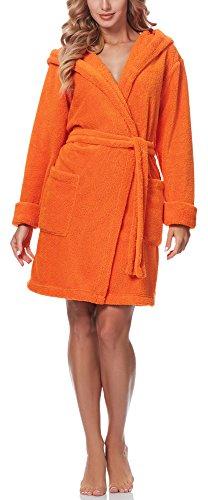 Merry Style Femmes Peignoir de Bain avec Capuche 1GN2S Orange