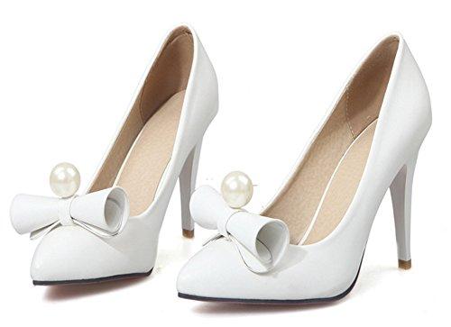 Aisun Femme Elégant Bout Pointu Chaussures de Mariage Escarpins Blanc