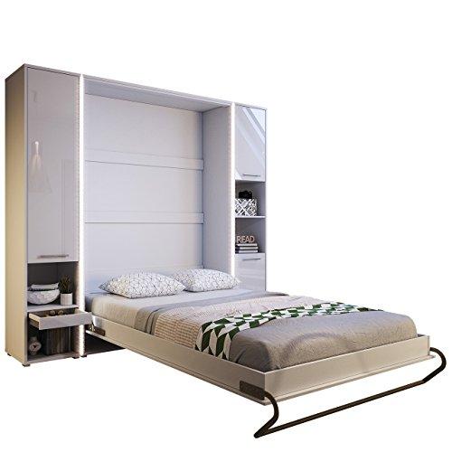 Mirjan24  Schlafzimmer-Set Concept Pro I Vertical, Wandklappbett und 2 Regale, Wandbett mit Lattenrost, Bettschrank, Klappbett, Funktionsbett (Weiß, CP-01 (140×200)) - 2