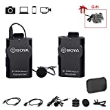 BOYA 2.4GHz Wireless Lavalier Lapel Mic, Sistema de micrófono omnidireccional Grabación de Audio con Easy Clip On, Enchufe de 3.5mm para Canon Nikon Sony DSLR Camera, Videocámara, iPhone Smartphone