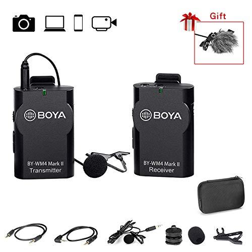 BOYA 2,4 GHz kabelloses Lavalier-Ansteckmikrofon, omnidirektionales Mikrofonsystem, Audioaufnahme mit Easy Clip On, 3,5-mm-Stecker für Canon Nikon Sony DSLR-Kamera,Camcorder, iPhone Huawei Smartphone
