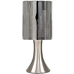 MiniSun 'Horizon - NEW YORK'. Lampe de Table, Chevet Touch Moderne. Variateur Touch Intégré. Pied Contemporain en Nickel avec Abat-Jour 'Gratte Ciel - NEW YORK' Chrome Foncé