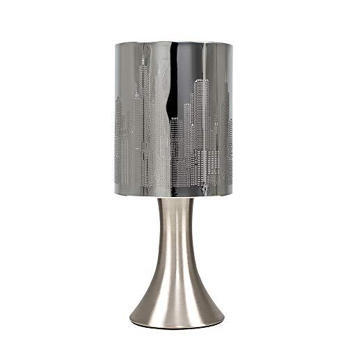 MiniSun - Lámpara de mesa moderna y táctil, de diseño - Cromada, inspirada en el paisaje de Nueva York