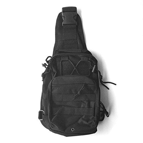 Yihya Militare multifunzionale Nylon bag Tactical Marsupio Tattico Messenger Zaino Bag Zaino di Assalto per Sport Esterni Avventura Climbing & Riding Borsa da Viaggio - Spalla-noir