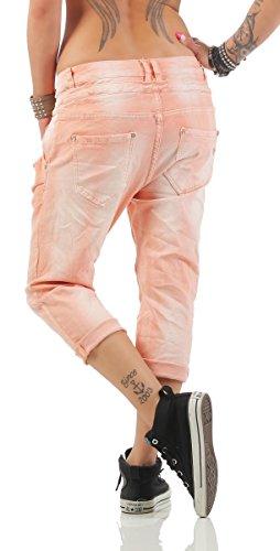 11133 Fashion4Young MOZZAAR Damen Jeans Röhrenjeans 7/8 Haremshose Baggy Übergrössen pastelorange