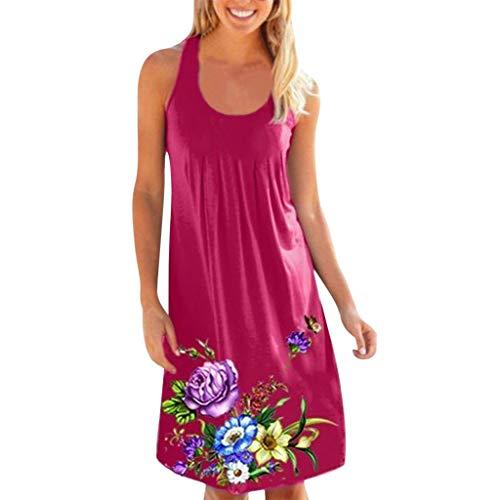 TIFIY Kleid Damen, Sommer ärmellose Blumendruckfalte einfacher O-Ausschnitt Karneval Mode Sommer lässig ärmelloses Minikleid lose Partykleid (M, Grau)