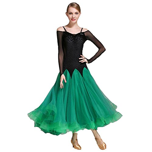Kostüm Salsa Beschreibung (OOARGE Damen Latin Dance Outfit Spitze Rüschen Langarm Kleid , green ,)