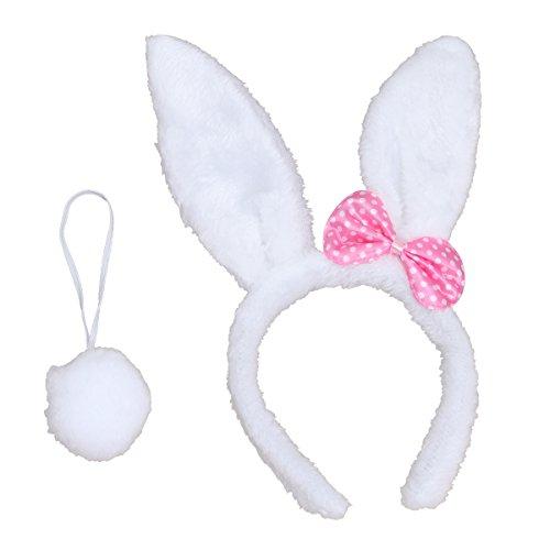 LUOEM Bunny Kostüm-Set mit Haarreif Schwanz für Kinder Erwachsene Ostern Party Cosplay Kostüm 2 Stücke (Weiß) (Ostern-kostüm Für Erwachsene)