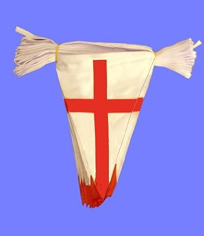 England St. George Flagge Fußball WM dreieckige Wimpel, 20 m Länge, 54 Flaggen) tolles Preis-Leistungs-Verhältnis, (George Englische Flagge)