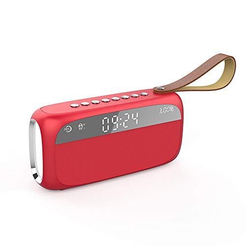 ZXYWW Kabelloser 5,0-Bluetooth-Wecklautsprecher, Home-Subwoofer-Mini-Wecker, Tragbarer Kleiner 3D-Surround-Lautsprecher Mit Großem Volumen Und Buntem Licht,Red (Für Kleinkinder Halloween-lied)