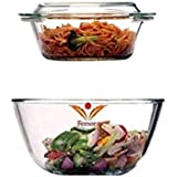 Femora Borosilicate Glass Microwave Safe Mixing Bowl 1650 ML, Serving Casserole 1000 ML Set of 2