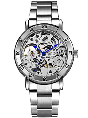 Alienwork Damen Herren mechanische Automatik-Uhr Silber mit Edelstahl Metallarmband Skelett