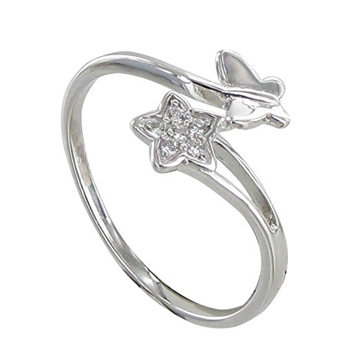 Les Poulettes Jewels - Sterling Silver Ring Butterfly and Rhinestones Star