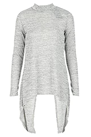 Damen Melange Open Back Long Sleeve Top UK Größe 36-42 (M/L( EUR 40-42), Silber-Grau)