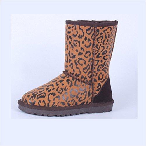 QPYC Neutro nel tubo stivali da neve impermeabile colore speciale femminile stivali mantenere caldo piatto di grandi dimensioni uomini scarpe donna scarpe 34-48 leopard