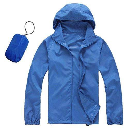 Hoody Unisex Herren Damen Herbst Wasserdicht Unifarben Mit Zipper Perfect Mäntel Uv Schutz Langarm Locker Jacke Coat Casual Blusentop Kapuzenpulli Style (Color : Blau, Size : M)