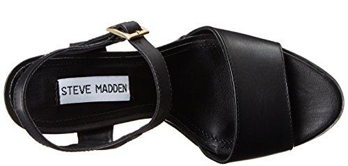 Steve Madden Travis, Sandales femme noir (Black leather)