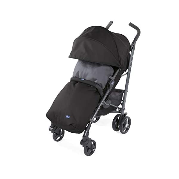 Chicco New Liteway Stroller Jet Black Chicco Suitable from birth. Backrest declinable to 5 positions Complete with footmuff, extendable hood and rain cover. 2