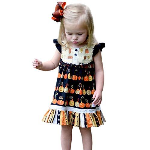ALISIAM Baby Mädchen Casual Dress Halloween Kürbis Kleid Prinzessin Kleid Druck Outfits Kostüm Kleinkind Kinder Vintage Retro Ärmellos Festlich Kostüm - Kleinkind Motorrad Kostüm