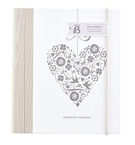 Busy B Hochzeitsplaner-Silber-Herz-mit Abschnitten, Checklisten und Taschen für die Planung.Perfekt als Verlobungsgeschenk