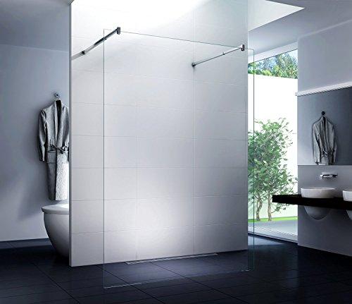duschwand freistehend Freistehende Duschwand (Eckstange) Walk in Duschabtrennung Dusche Glasscheibe Seitenwand Diwa Clear 10mm ESG-Sicherheitsglas Klarglas 160x200 cm