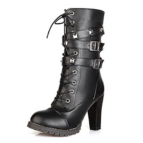 YE Damen Chunky High Heels Plateau Halbschaft Stiefel mit Blockabsatz Schnürung Nieten und Schnallen Boots