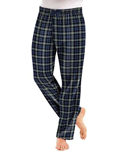 Hanes Mens Jersey Flannel Pants (4046) -Blue/Black -L -