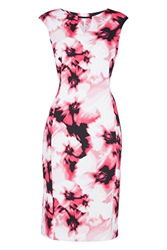 Roman Originals Femme Robe Pastel Floral Col V Rose Cerise