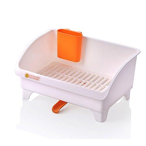 &étagère de rangement Racks à vaisselle Cuvette de cuisine en plastique Etagère Baguettes Baguettes Boîte de rangement Goutte à goutte Plate Plate 36.8 * 26.5 * 18.5CM Rack de finition