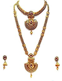 c22e85124b7d47 LookEthnic Maroon Copper Gold Plated Kundan Necklace Set for Women