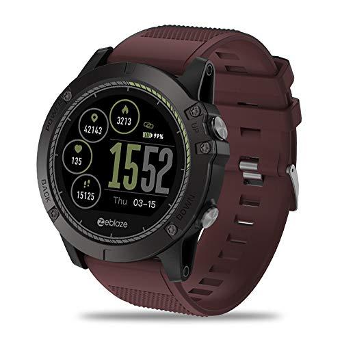 CITW Intelligente Uhr IP67 Wasserdichtes Tragbares Gerät Herzfrequenz-Detektor IPS-Farbdisplay Sport Smart Watch Kompatibles System Android 4.4 / Ios 8.0,Red