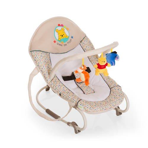 Hauck Bungee Deluxe Pooh Ready to Play - Hamaca con movimientos para bebes de 0 meses hasta 9 kg, con función mecedora, respaldo ajustable, con arco de juegos, sistema de arnés de 3 puntos, multicolor