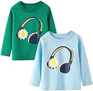 Camiseta de Manga Larga para niñas, Camiseta de algodón, Informal, cálida, con gráfico de Unicornio, Dibujos A