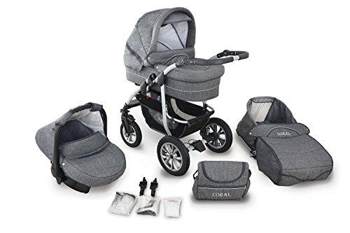 Clamaro 'CORAL 2019' Kinderwagen 3in1 Kombi System mit Babywanne, Sport Buggy und 0+ (0-13 kg) Auto Babyschale, Luftreifen, Federung, Schwenkräder und EASY-STOP Bremse - 22. Leinen Grau