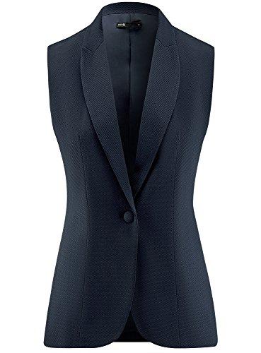 oodji Ultra Damen Klassische Weste aus Strukturiertem Stoff Blau (7900N)