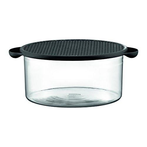 Hot Pot Glasschale mit Silikondeckel, 2.5 l, schwarz