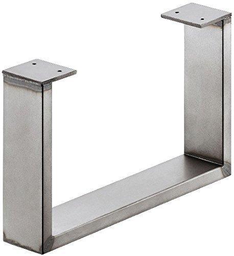 GedoTec® Stahl-Möbelkufe Möbelfuss zum Anschrauben | Tragkraft 200 kg | Metall Rohstahl lackiert im Vintage / Retro Look | Profil 80 x 20 mm | Möbel-Untergestell höhen-verstellbar +10 mm | Markenqualität für Ihren Wohnbereich