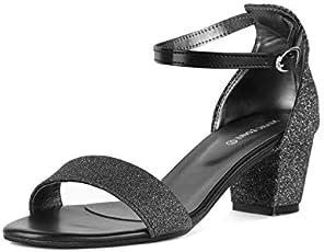 MarcLoire Women & Girls Footwear Sandals, Casual Wear Stylish & Fashionable Sandals, Party Wear Open Toe Fashion Sandals with Buckle Closure, Black / ML00075302-P