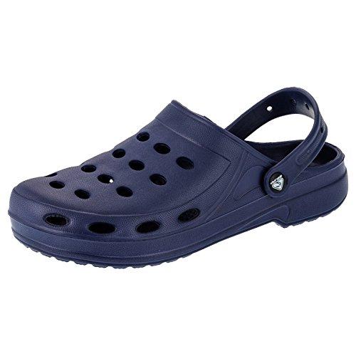 2Surf Herren Clogs Garten Schuhe Freizeit Pantoffel Strand Pool in Vielen Farben M195dlb Dunkel Blau 43
