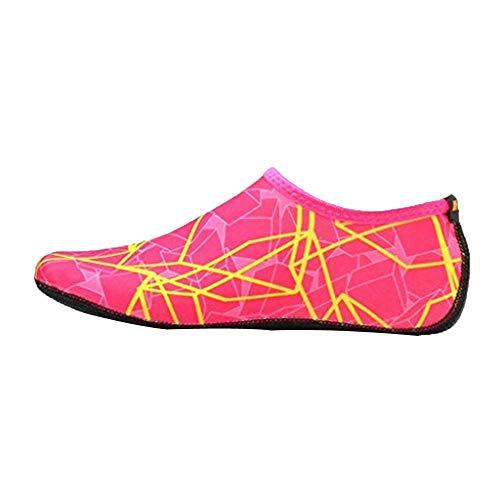 Xmiral Wasserschuhe Damen Gummisohle Drucken Laufschuhe Trocknend Badesandale Schwimmschuhe Wasserdicht Barfuß Schuhe für Pool Surfen Yoga rutschfest Badelatschen(Rosa rot,40-41 EU)