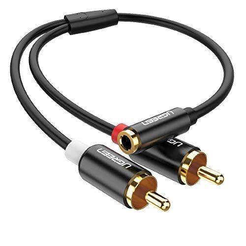 UGREEN Cinch auf Klinke Adapter 25cm Cinch Klinke Kabel 3,5 mm Klinke Buchse auf 2 Cinch Stecker Audiokabel mit Vergoldete Kontakte Metall Gehäuse