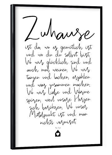 artboxONE Poster mit schwarzem Rahmen 60x40 cm Zuhause - EIN Gedicht von OHKIMIKO - Poster mit Kunststoffrahmen