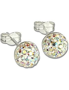 SilberDream Glitzer Ohrstecker Halbkugel Farbton kristall Preciosa Elements 925 Sterling Silber Ohrringe GSO217Z