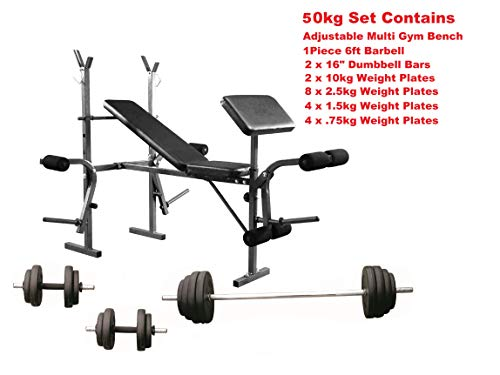 UK Fitness Weight Training Bench Set Press & Curl Bar + Dumbbells & Weights (50kg Bench + Bars + Weights)