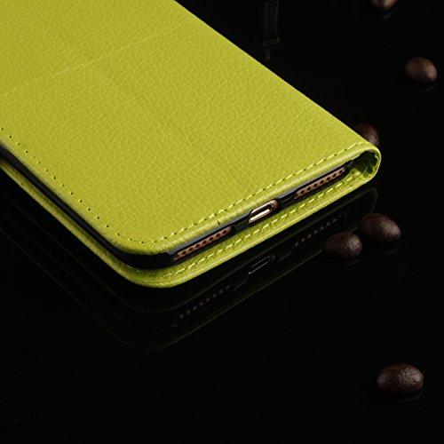 Cozy Hut iphone 7 Plus Lederhülle,Magnetverschluss Schutzhülle Folio Cover für iphone 7 Plus orange Ledertasche im Bookstyle mit Kartenfächer und Standfunktion Hülle iphone 7 Plus Handy taschen Classi grün