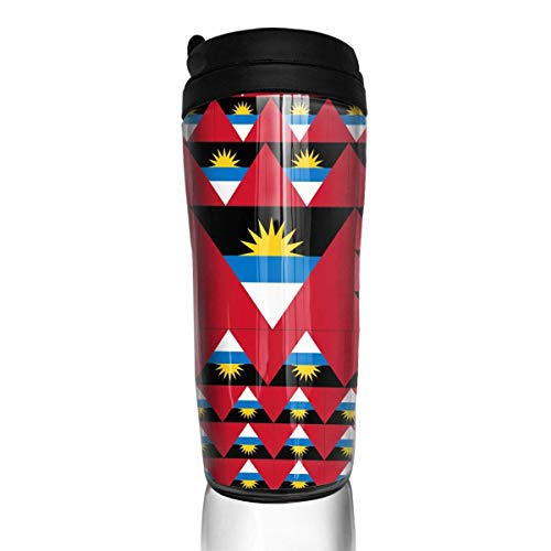 Travel Coffee Mug Antigua and Barbuda Flag 12 Oz Spill Proof Flip Lid Water Bottle Environmental Protection Material ABS