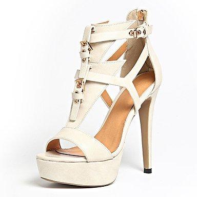 zhENfu Donna Sandali scarpe formali similpelle Summer Party & abito da sera formale fibbia scarpe Zipper Stiletto Heel marrone chiaro beige4in-4 Beige