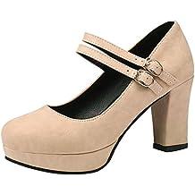 Amazon.es: Zapatos Tacon Ancho - Beige